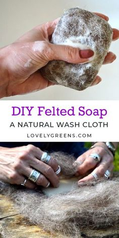 How to felt soap, making a natural wash cloth that's great for your skin: materials required are wool, a bar of soap, and a bit of water and liquid soap Felt Diy, Felt Crafts, Handmade Soap Recipes, Christmas Soap, Homemade Clay, Needle Felting Tutorials, Nuno Felting, Home Made Soap, Soap Making