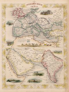 'Overland Route To India' - Early 19th Century #map #india