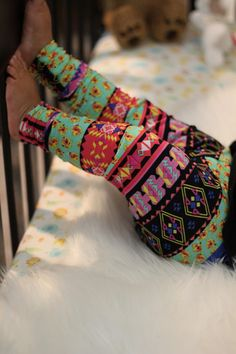 Colorful tribal print leggings for baby girl's, a gorgeous and soft print with light yellow flowers and pink patterns, a lovely fall print for a girl outfit