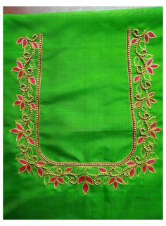 Simple Embroidery Designs, Hand Embroidery Design Patterns, Hand Work Embroidery, Designer Blouse Patterns, Cutwork Blouse Designs, Simple Blouse Designs, Magam Work Designs, Mirror Work Blouse Design, Couture