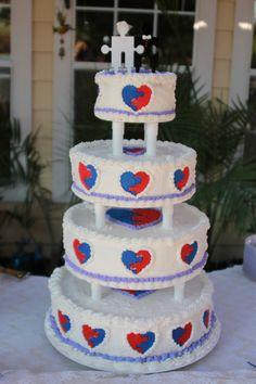 Puzzle piece hearts wedding cake #autismawareness