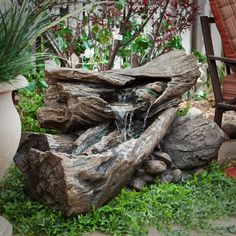 Alpine Teton Waterfall Outdoor Fountain - Looking like real pieces of stacked logs, the Alpine Indoor/Outdoor Lighted Faux Stone Fountain will make a nice accent piece anywhere in your hom...