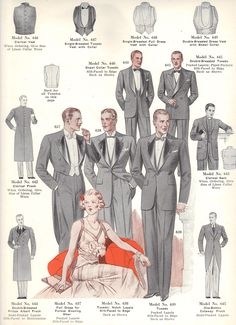 Fall 1934 to Winter 1935 Style Book of Windsor Clothing company; rare, personal collection. Notice how peaked, notched and rounded collars were all available. We tend to looking back too simplistically to say notched collars were maimly 20s and peaked 30s.