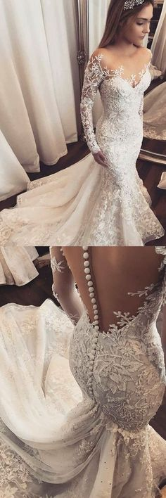 Mermaid Illusion Bateau Long Sleeves Tulle Wedding Dress with Appliques M0458