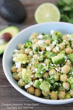 Chickpea, Avocado, & Feta Salad Recipe on twopeasandtheirpod.com This healthy salad only takes 5 minutes to make!