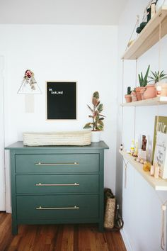 Those final days waiting for baby. Paige Jones, photographer and mama behind this sweet bohemian nursery is in the midst of all that magic right now, which makes it such perfect timing to share - Baby Nursery Today Nursery Dresser, Girl Nursery, Ikea Dresser, Baby Dresser, Nursery Grey, Nursery Modern, Painted Nursery Furniture, Simple Baby Nursery, Hemnes Nightstand