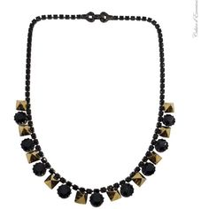 Black Necklace with Gold Studs Tom Binns ❤ liked on Polyvore featuring jewelry, necklaces, crystal stone necklace, crystal jewellery, crystal stone jewelry, tom binns necklace and crystal necklace