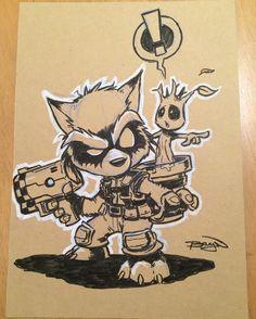 "1,589 To se mi líbí, 20 komentářů – Craig Bruyn (@craig_bruyn) na Instagramu: ""Rocket Raccoon a5 sketch card - - - - - #sketch #card #original #art #comics #comicart #fanart…"""