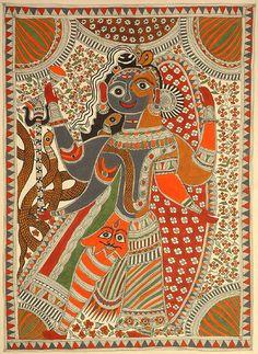 Madhubani style Ardhanarishvara, the androgynous manifestation of Shiva and Parvati