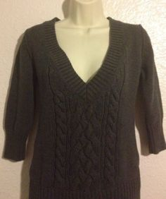 Old-Navy-Sweater-Small-Womens-Charcoal-Gray-3-4-Sleeve-Braided-Knit-V-Neck
