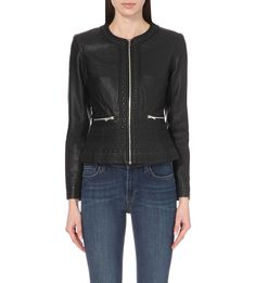 FRENCH CONNECTION Diamond-stitch faux-leather jacket