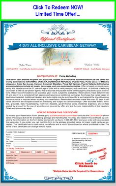 Caribbean Cruise Deal - Click image NOW! Vacation Savings, Vacation Resorts, All Inclusive Mexico, Free Certificates, Once In A Lifetime, Cozumel, Caribbean Cruise, Discount Travel, Compliments
