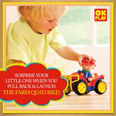 Surprise your #toddler when you pull back & launch the OK Play Farm Quad Bike!  #Fun