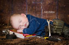 Baltimore newborn portraits by Leah Rhianne Photography #mechanic #newborn #baby