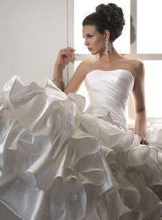 Ball gown satin sleeveless bridal gown