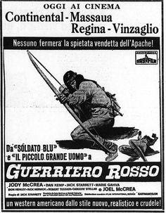 """Guerriero rosso"" (Cry Blood, Apache, 1963) di Jack Starrett, con Jody McCrea e Marie Gahva. Italian release: September 3rd, 1971 #MoviePosters #WesternMovies"