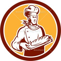 american, baker, bread, chef, circle, cook, graphic, hat, holding, illustration, isolated, male, man, retro, woodcut, worker