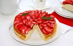 Pastel de ricotta con fresas