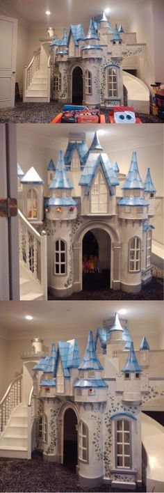 The Wizard of Oz Castle Playhouse is one of our most spectacular designs! This version has been giving a princess theme, and was also shrunken down to fit into a residential play room. This really is the Queen of kids indoor playhouses, with a curving staircase, curving slide, and more turrets than you would believe! Click to see the full sized version, and learn more.