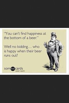 Happiness at the bottom of a beer. www.playtikitoss.com #mellowmilitia #quote #beer #backyard #games