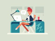 Young girl at workplace flat vector illustration
