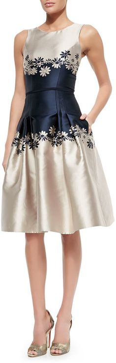 Carolina Herrera Sleeveless Two-Tone Dress W/ Daisies