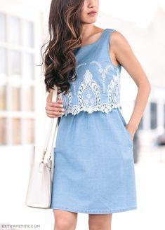 extra petite summer fashion_maison jules denim dress