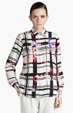 MSGM Floral Plaid Silk Shirt available at #Nordstrom