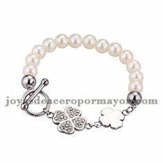 brazalete de trebol con perla en acero plateado inoxidable -SSBTG674093
