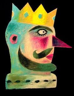 'King' by Clive Hicks-Jenkins. Based on Stravinsky's 'The Soldier's Tale', 2014 (Oil pastel on paper) Art And Illustration, Pattern Illustration, Book Illustrations, Drawing Base, Painting & Drawing, Outsider Art, Botanical Prints, American Art, Folk Art