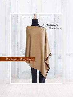Pure cashmere stripe poncho / Cashmere poncho / Stripe poncho / Women poncho / Poncho / Pure cashmere / Mix and match color Cashmere Poncho, Honey Brown, News Design, Custom Made, Pure Products, Trending Outfits, Stylish, How To Wear, Color