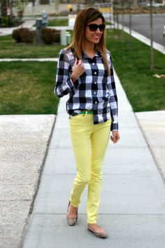 I love mixing prints and colors! black and white checks, yellow skinny jeans, mint belt, and leopard shoes