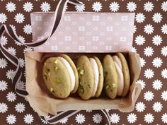 Pistachio cardamom whoopies- someone actually sell these at my farmers market and they are WICKED good.