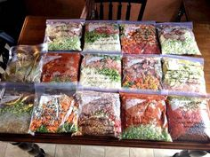 """4 hours of prep = 30+ days worth of freezer/crock pot dinners!! That means NO cooking for me for 30 days!!! Just thaw and throw it in the crock pot!!"""" Freezer crock pot dump recipes."""