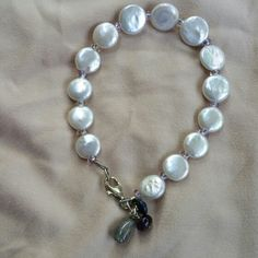Coin pearl bracelet with dangling gemstones, by DharmaJewelry