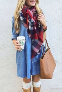 denim, plaid, & brown