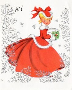 Christmas  Lady--would love to print these images of old cards out to use as wrap or decorations on paper wrapping.