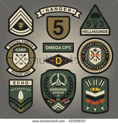 Set Of Military and Army Patches and Badges 2 - buy this stock vector on Shutterstock & find other images. Graphic Design Letters, Lettering Design, Logo Design, Air Image, Army Clothes, Army Patches, Vintage Patches, Badge Logo, Patch Design