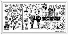 Dream Girl stamping plate 14 buffet hot air balloon lamp kiss kids cupcake doughnut necklace