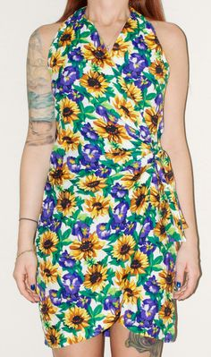 90s Grunge Sunflower Wrap Around Shift Mini by NoteworthyGarments
