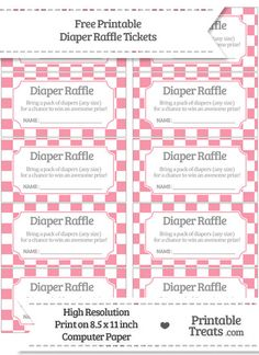 Free Pastel Pink Checker Pattern Diaper Raffle Tickets · Baby Shower  PrintablesBaby ...