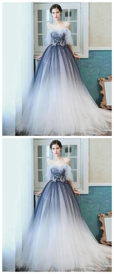 Unique sweetheart tulle blue long prom dress blue tulle evening dress  by olesaweddingdresses, $134.84 USD Classy Prom Dresses, A Line Prom Dresses, Beautiful Prom Dresses, Tulle Prom Dress, Prom Party Dresses, Homecoming Dresses, Evening Dresses, Prom Tips, Ball Gowns
