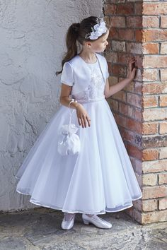 A cute pose idea for my son's rechristening photos as Emily Grace! Holy Communion Dresses, First Holy Communion, Catholic Communion, Organza, Cute Poses, Dress Suits, Sewing For Kids, Designer Wedding Dresses, Flower Girl Dresses