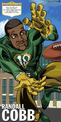 Randall Cobb in The League of Lambeau by Green Bay Press-Gazette Media editorial cartoonist Joe Heller. The 2013 iconic Green Bay Packers caricatures look back at the storied history of the NFL's oldest franchise. See them all at www. Green Bay Packers Cheesehead, Green Bay Packers Players, Green Bay Football, Nfl Green Bay, Packers Baby, Go Packers, Packers Football, Best Football Team, Greenbay Packers