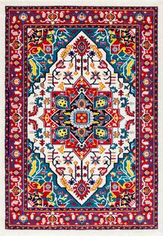 Like a festival of colors, this Rugs USA Albina CR18 Madge Manorial Medallion Rug is overwhelmingly stunning!