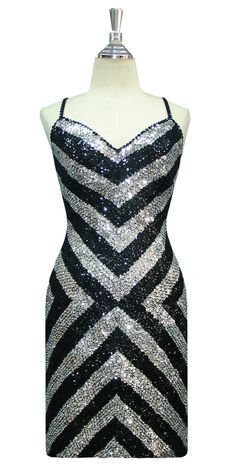 Short Handmade Geometric Patterned 8mm cupped Sequin Dress in Silver and Black.