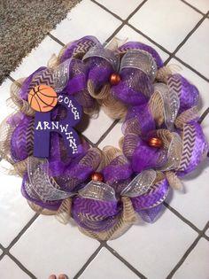 Roscoe basketball burlap and purple wreath