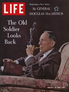 """Life Magazine January 1964 : Cover - General Douglas MacArthur with pipe and book by Morris Schaff """"Spirit of old West Point. Look Magazine, Time Magazine, Magazine Covers, Magazine Art, News Magazines, Vintage Magazines, Vintage Ads, Douglas Macarthur, Life Cover"""