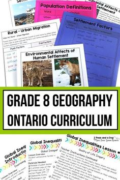Grade 8 Geography Bundle Ontario Curriculum - 2 Peas and a Dog Geography Lesson Plans, History Lesson Plans, Geography Activities, Teaching Social Studies, Teaching Resources, Ontario Curriculum, Canadian History, Economic Development, Sustainability
