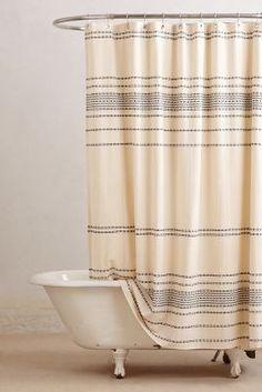 Anthropologie Rippled Stripes Shower Curtain